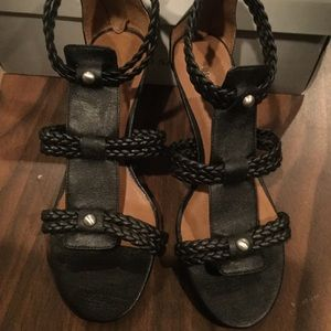 Franco Sarto deep brown leather sandals